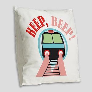 Beep, Beep! Burlap Throw Pillow