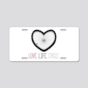 Love Life Cycle Aluminum License Plate