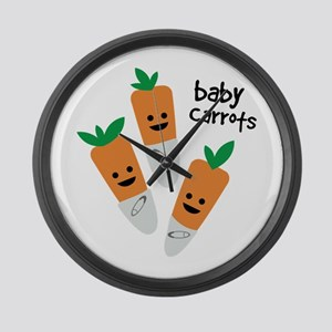 Baby Carrots Large Wall Clock