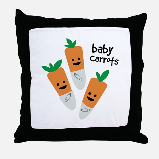 Baby Carrots Throw Pillow