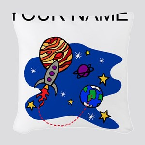 Rocket In Space (Custom) Woven Throw Pillow