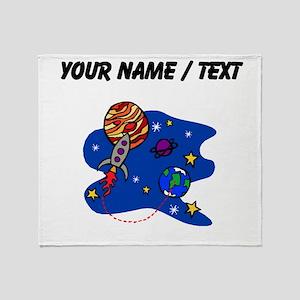 Rocket In Space (Custom) Throw Blanket