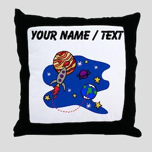 Rocket In Space (Custom) Throw Pillow