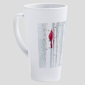 Red Cardinal Bird Snow Birch Trees 17 oz Latte Mug