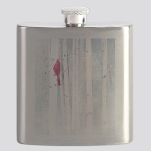 Red Cardinal Bird Snow Birch Trees Flask