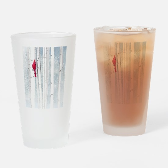 Red Cardinal Bird Snow Birch Trees Drinking Glass