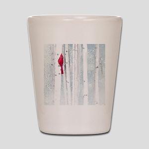 Red Cardinal Bird Snow Birch Trees Shot Glass