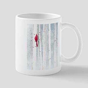 Red Cardinal Bird Snow Birch Trees Mugs