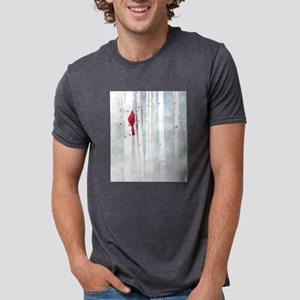 Red Cardinal Bird Snow Birch Trees T-Shirt