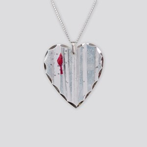 Red Cardinal Bird Snow Birch Necklace Heart Charm