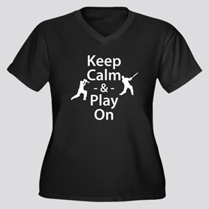Keep Calm and Play On (Cricket) Plus Size T-Shirt