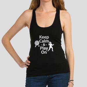 Keep Calm and Play On (Table Tennis) Racerback Tan