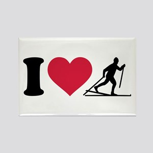 I love Cross-country skiing Rectangle Magnet