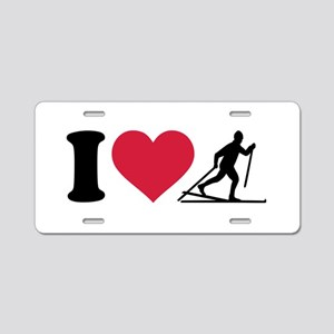 I love Cross-country skiing Aluminum License Plate