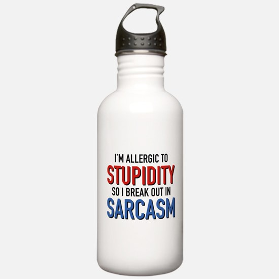 I'm Allergic To Stupidity Water Bottle