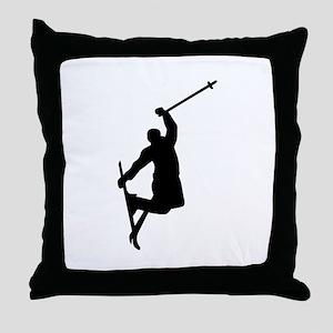 Freestyle ski jump Throw Pillow