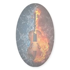 Fire and Water Violin Sticker (Oval)