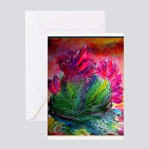 Colorful cactus, southwest art Greeting Cards