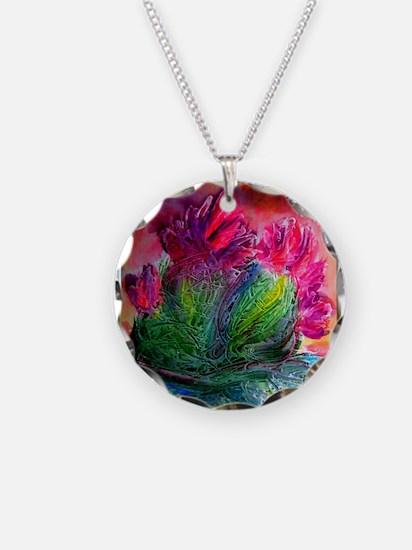Colorful cactus, southwest art Necklace