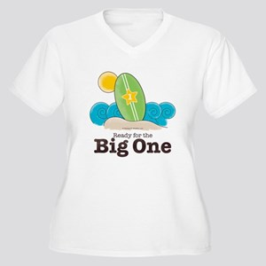 Ready For The Big One Surf Plus Size V-Neck Tee