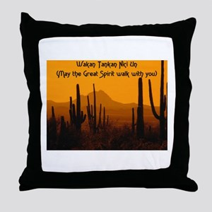 MAY THE GREAT SPIRIT WALK WITH YOU Throw Pillow