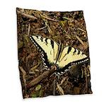 Summer Tiger Swallowtail Butterfly Burlap Throw Pi