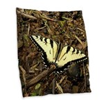 Summer Tiger Swallowtail Butterfly Burlap Throw Pi