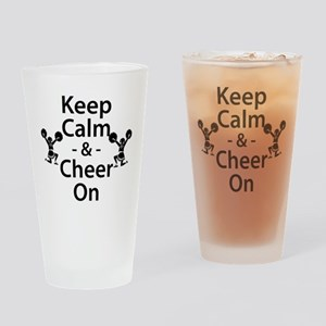 Keep Calm and Cheer On Drinking Glass