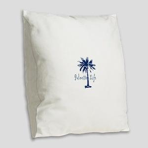 Blue Palmetto Life Burlap Throw Pillow