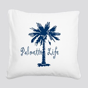 Blue Palmetto Life Square Canvas Pillow