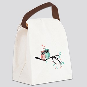 Cute owls in love Canvas Lunch Bag