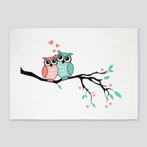 Cute owls in love 5'x7'Area Rug