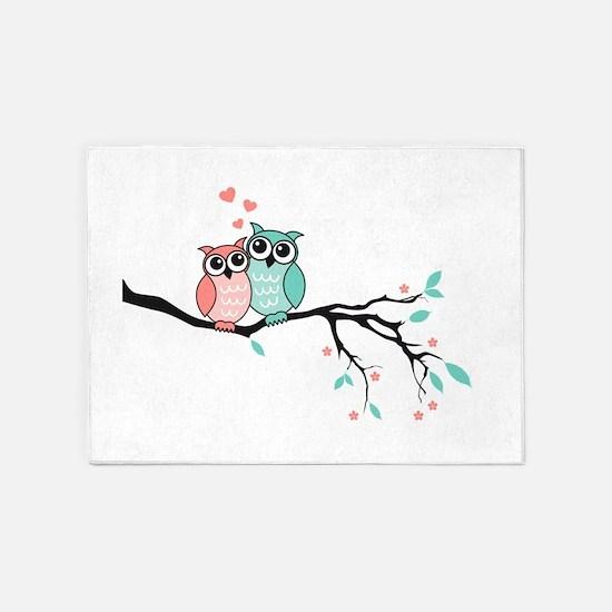 Cute owls in love 5'x7'Area Rug