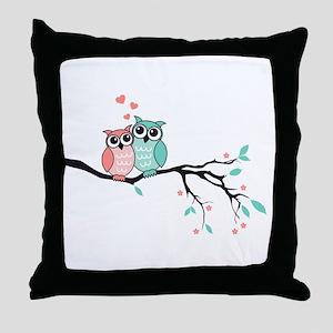 Cute owls in love Throw Pillow
