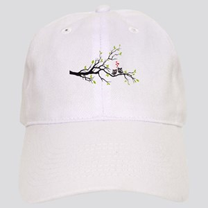 Cute owls on tree Baseball Cap