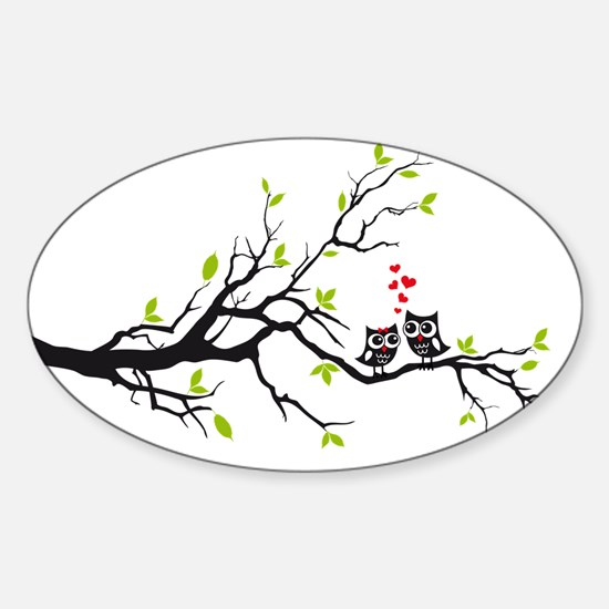 Cute owls on tree Decal