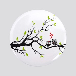 "Cute owls on tree 3.5"" Button"