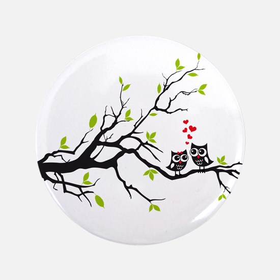 """Cute owls on tree 3.5"""" Button"""