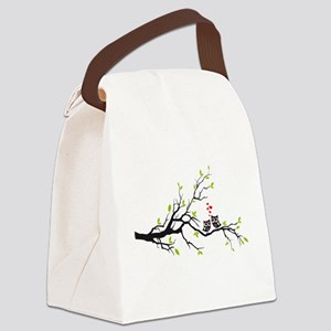 Cute owls on tree Canvas Lunch Bag