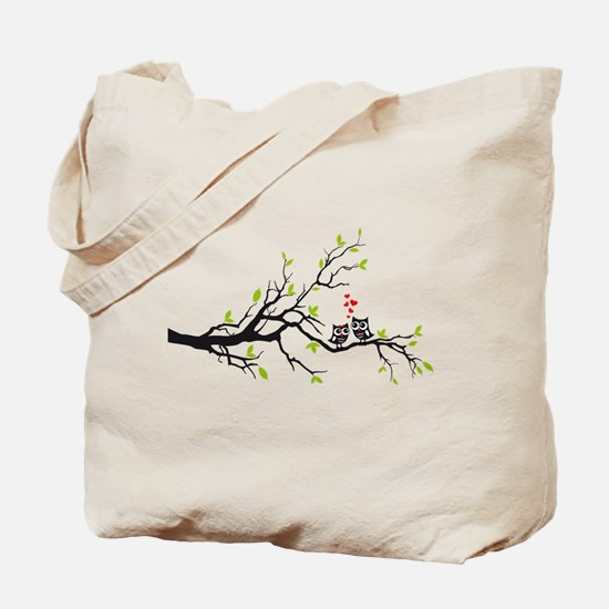 Cute owls on tree Tote Bag