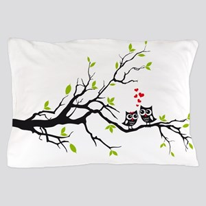 Cute owls on tree Pillow Case