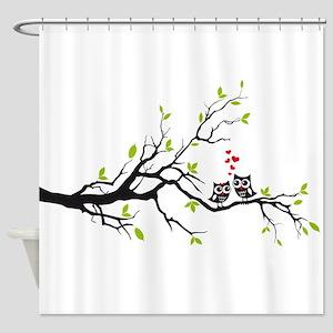 Cute owls on tree Shower Curtain