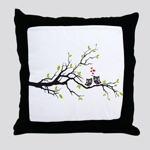 Cute owls on tree Throw Pillow