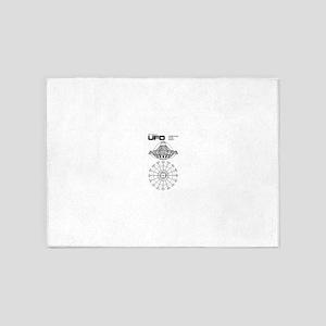 UFO Blueprint 5'x7'Area Rug