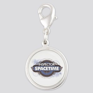 Inspector Spacetime Silver Round Charm