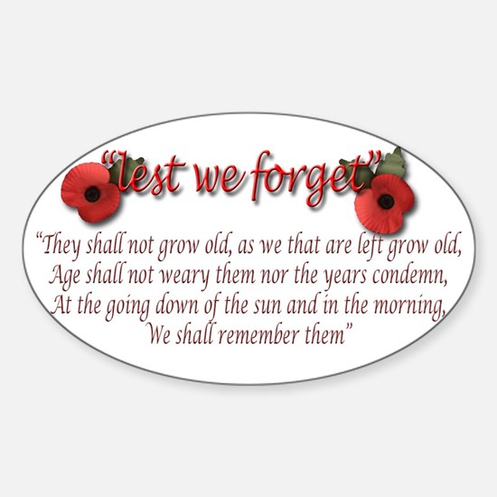 lest we forget Decal