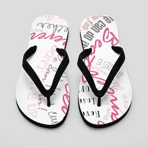 Beat Breast Cancer Typography Flip Flops