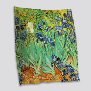 Van Gogh Irises Burlap Throw Pillow