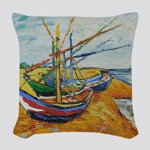 Van Gogh Boats at St Marie Woven Throw Pillow