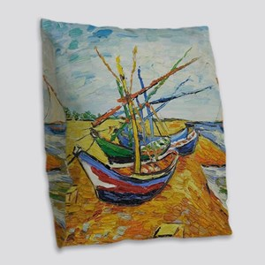 Van Gogh Boats at St Marie Burlap Throw Pillow
